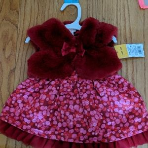 Red dress with faux fur caplet jacket